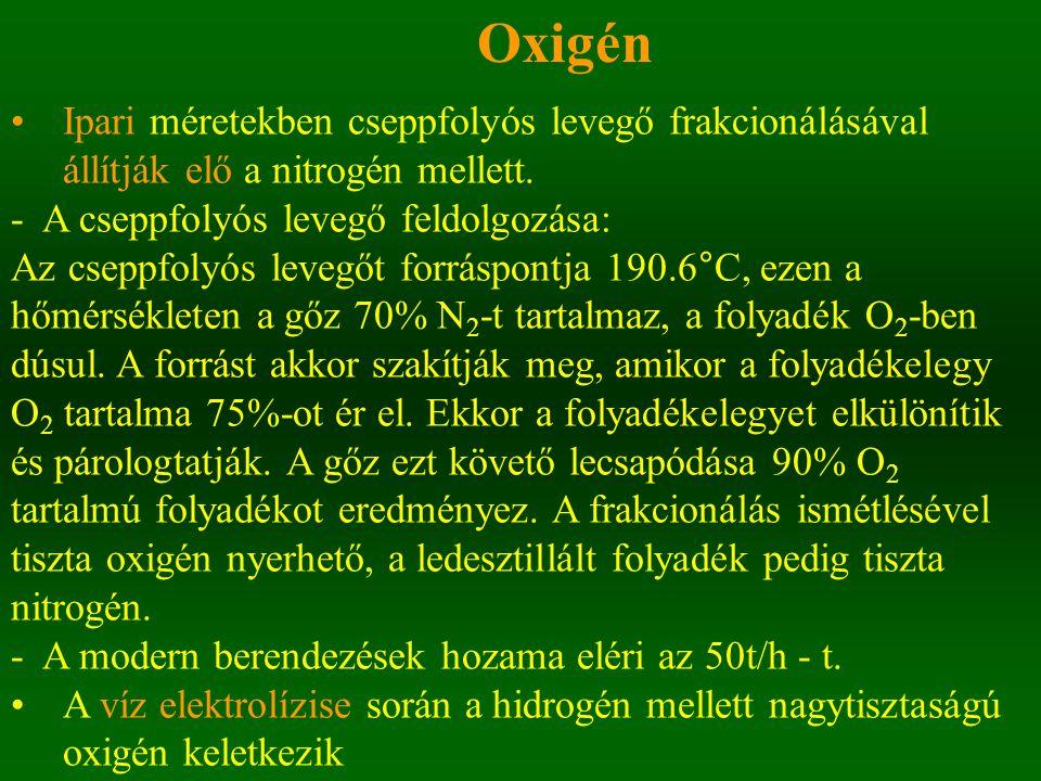 Oxigén Ipari méretekben cseppfolyós levegő frakcionálásával állítják elő a nitrogén mellett. - A cseppfolyós levegő feldolgozása: