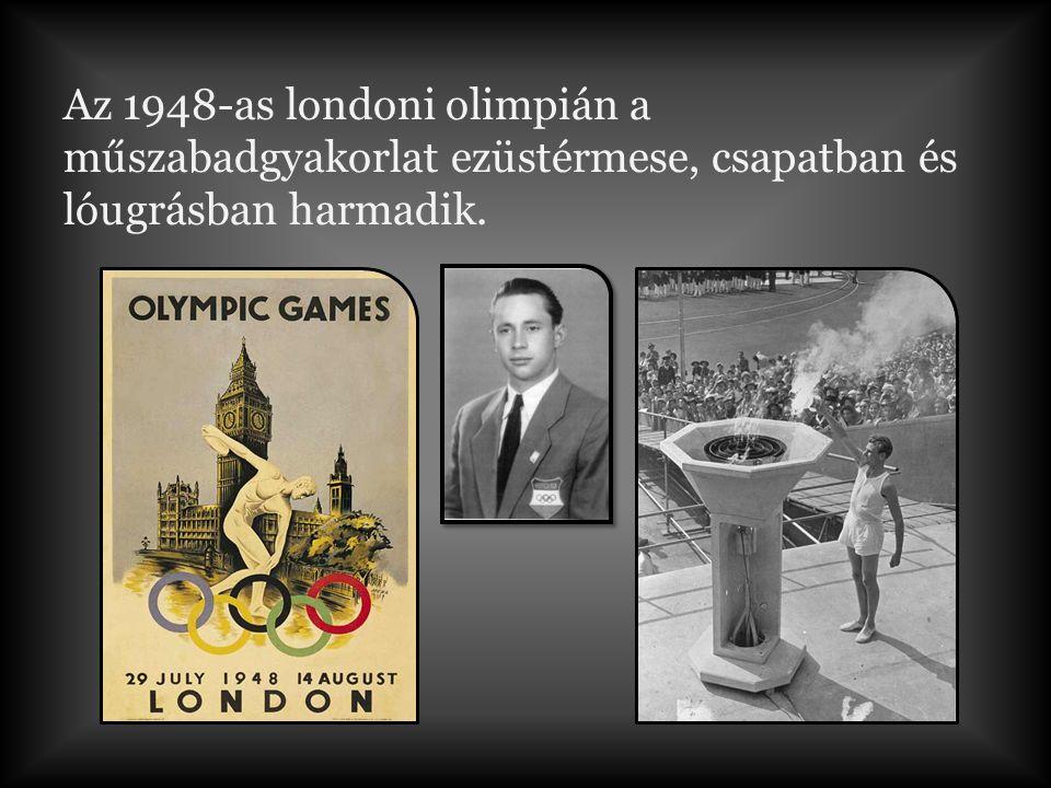 Az 1948-as londoni olimpián a műszabadgyakorlat ezüstérmese, csapatban és lóugrásban harmadik.