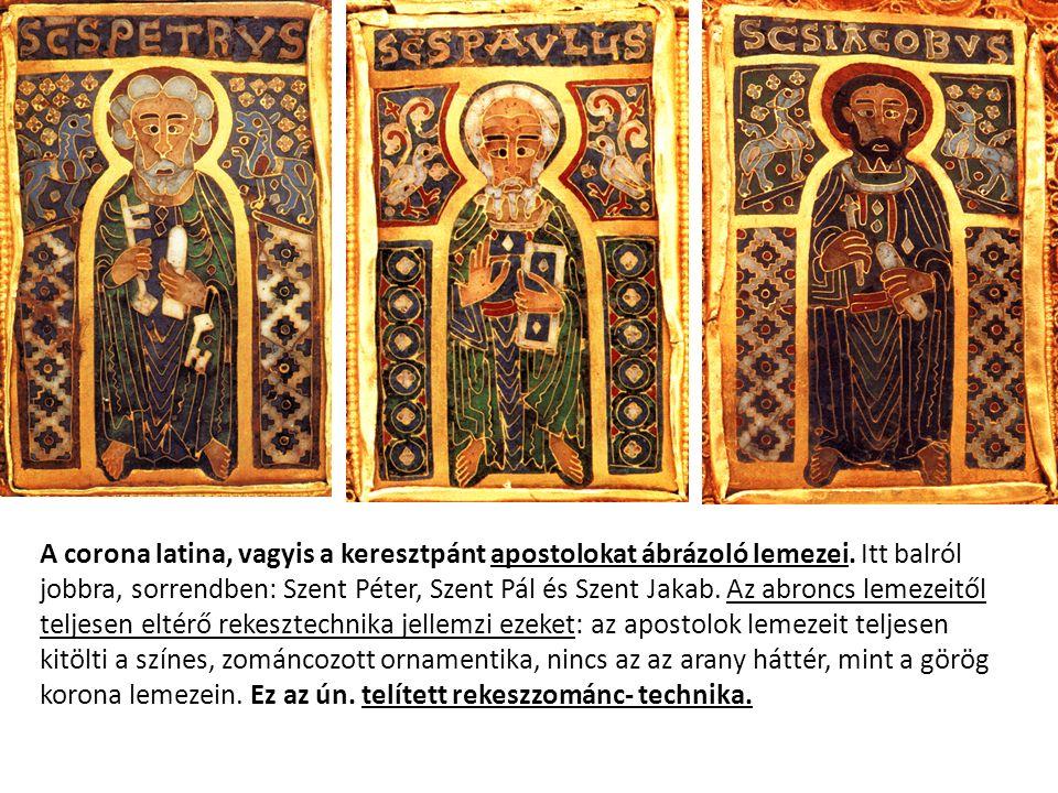 A corona latina, vagyis a keresztpánt apostolokat ábrázoló lemezei