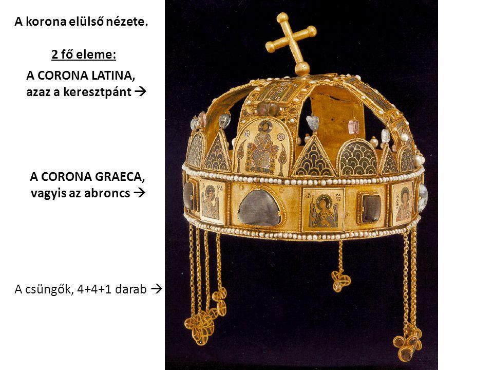 A korona elülső nézete. 2 fő eleme: A CORONA LATINA,