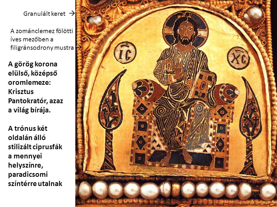 A görög korona elülső, középső oromlemeze: