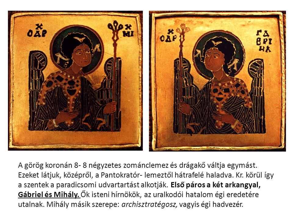 A görög koronán 8- 8 négyzetes zománclemez és drágakő váltja egymást