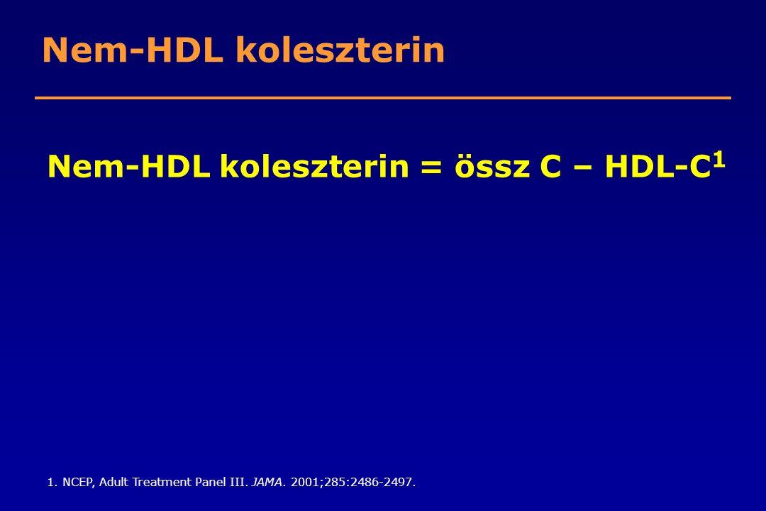 Nem-HDL koleszterin = össz C – HDL-C1