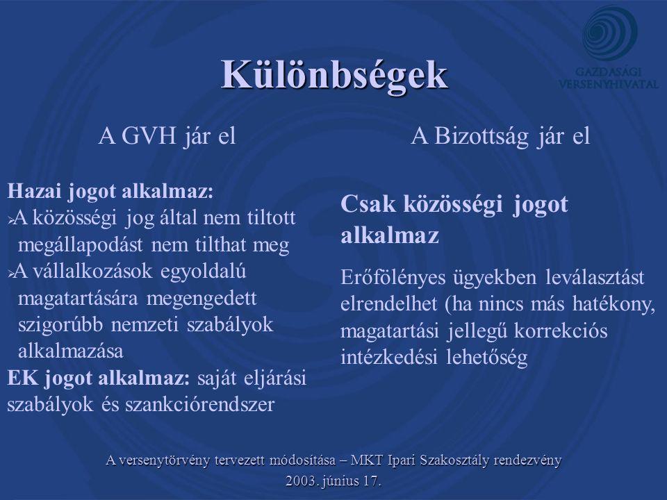 Különbségek A GVH jár el A Bizottság jár el