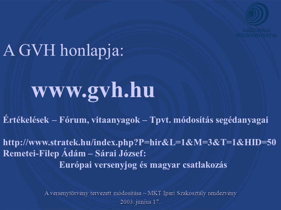 A GVH honlapja: www.gvh.hu