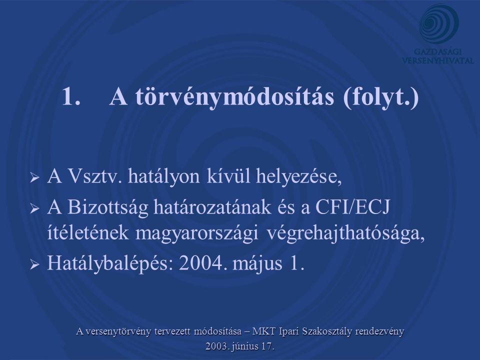 1. A törvénymódosítás (folyt.)