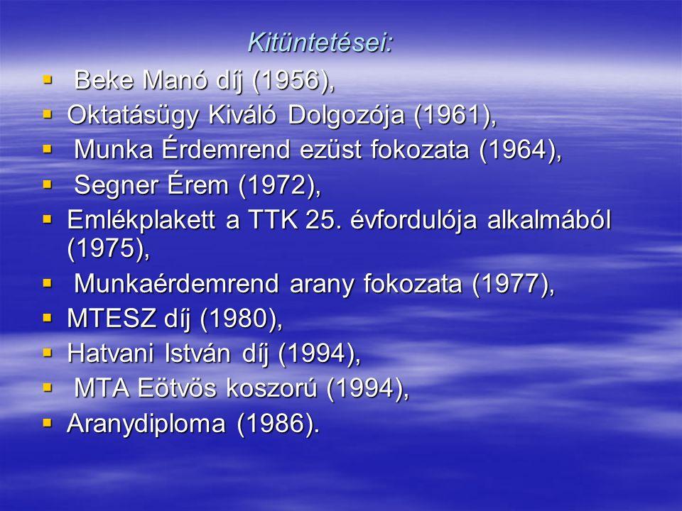 Kitüntetései: Beke Manó díj (1956), Oktatásügy Kiváló Dolgozója (1961), Munka Érdemrend ezüst fokozata (1964),