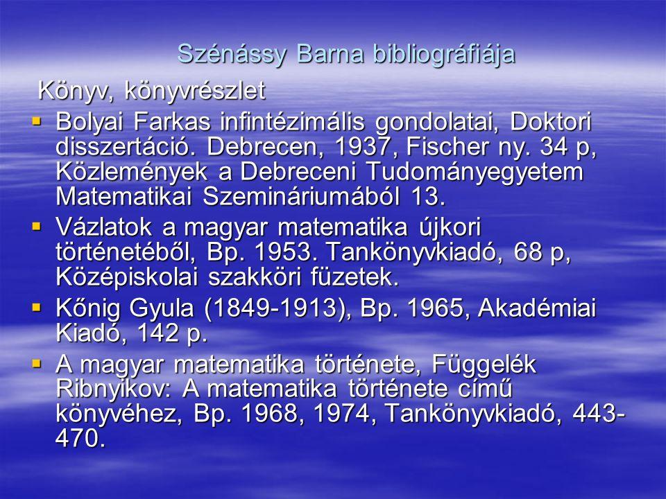 Szénássy Barna bibliográfiája