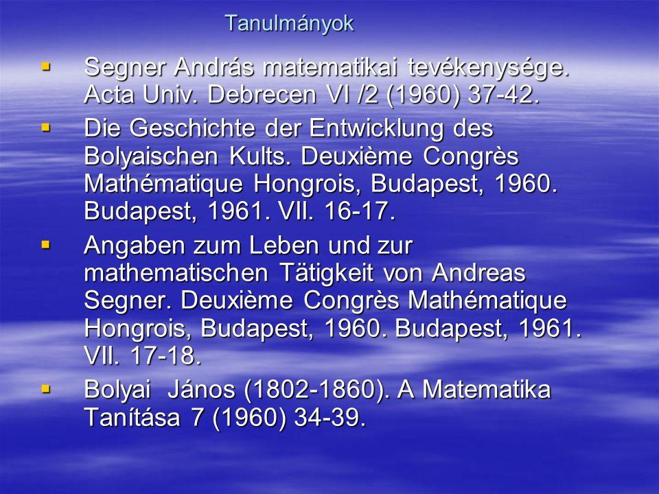 Bolyai János (1802-1860). A Matematika Tanítása 7 (1960) 34-39.