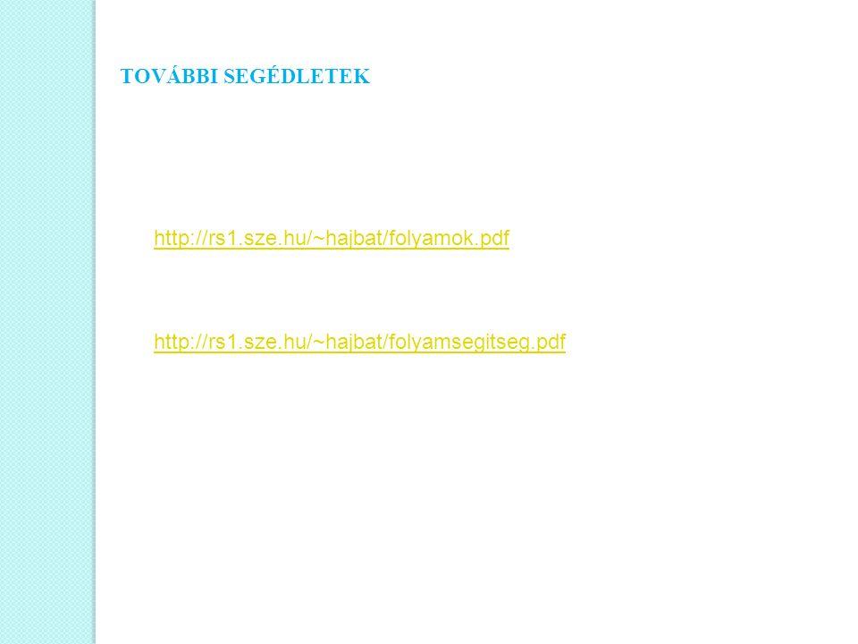 TOVÁBBI SEGÉDLETEK http://rs1.sze.hu/~hajbat/folyamok.pdf.