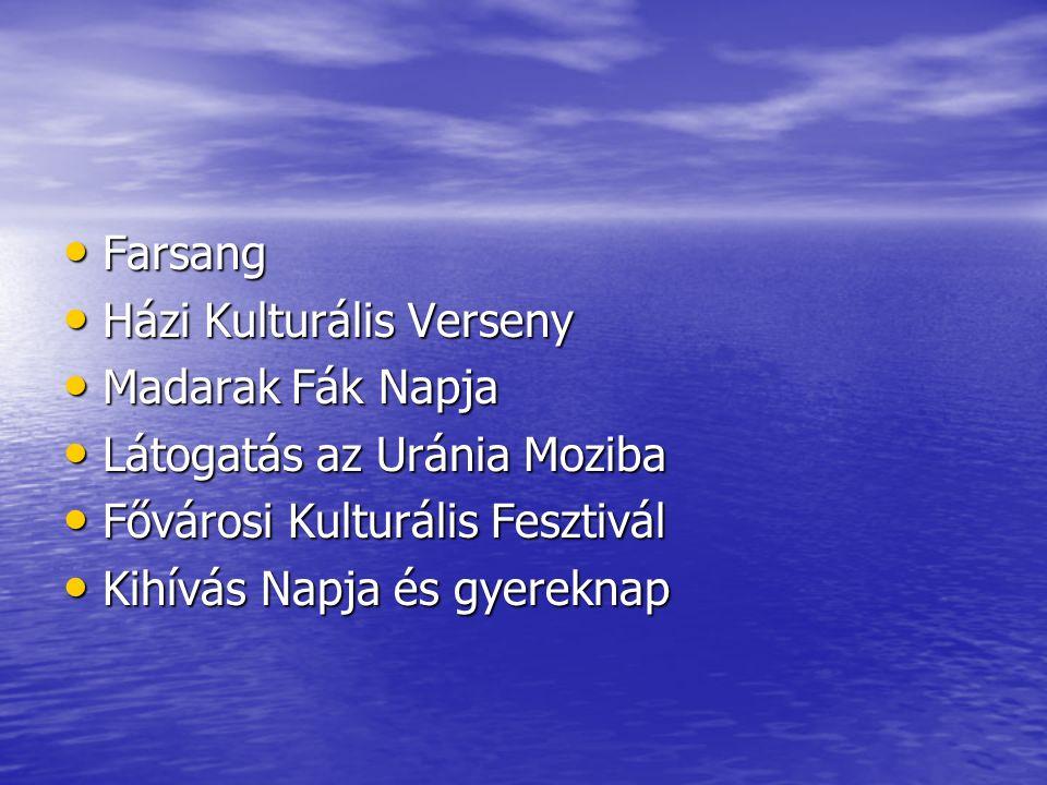 Farsang Házi Kulturális Verseny. Madarak Fák Napja. Látogatás az Uránia Moziba. Fővárosi Kulturális Fesztivál.