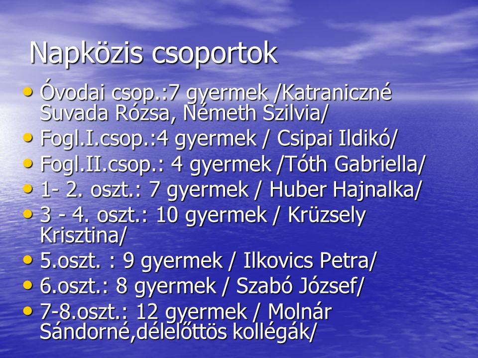 Napközis csoportok Óvodai csop.:7 gyermek /Katraniczné Suvada Rózsa, Németh Szilvia/ Fogl.I.csop.:4 gyermek / Csipai Ildikó/