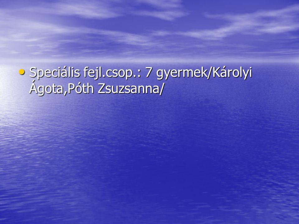 Speciális fejl.csop.: 7 gyermek/Károlyi Ágota,Póth Zsuzsanna/