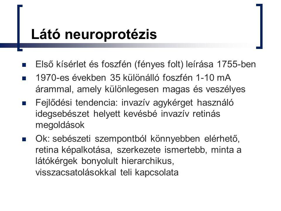 Látó neuroprotézis Első kísérlet és foszfén (fényes folt) leírása 1755-ben.
