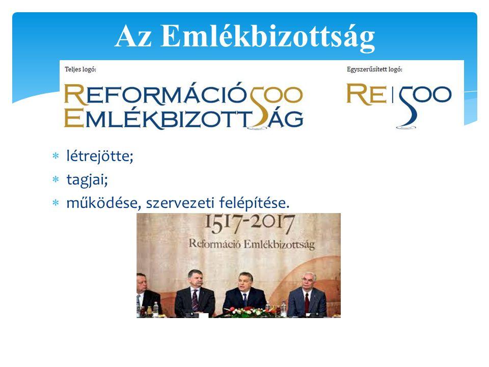 Az Emlékbizottság létrejötte; tagjai; működése, szervezeti felépítése.