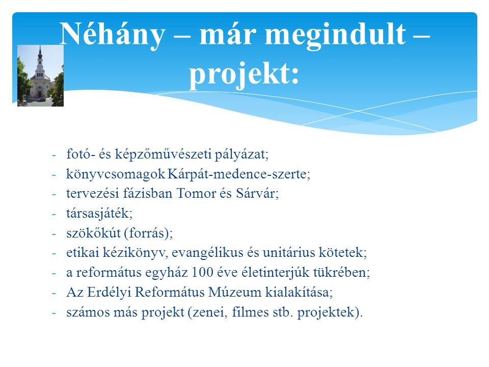 Néhány – már megindult – projekt: