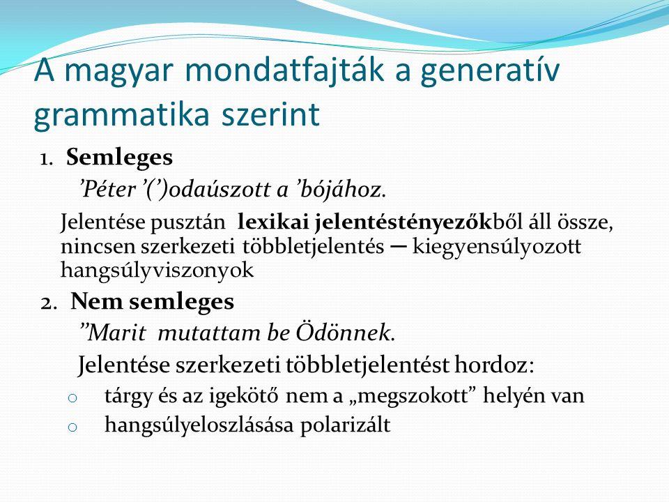 A magyar mondatfajták a generatív grammatika szerint