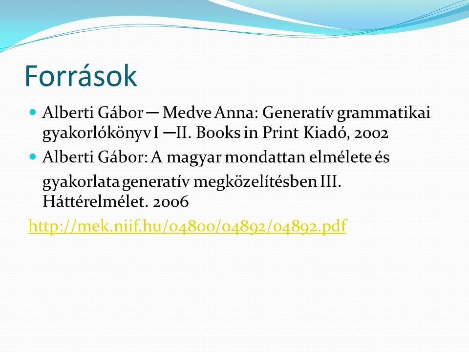 Források Alberti Gábor ─ Medve Anna: Generatív grammatikai gyakorlókönyv I ─II. Books in Print Kiadó, 2002.