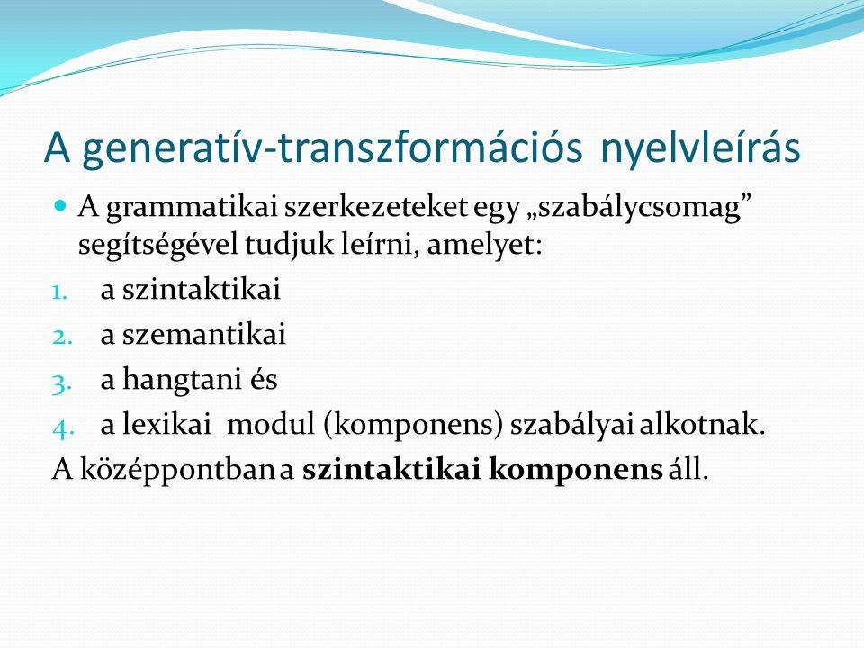 A generatív-transzformációs nyelvleírás