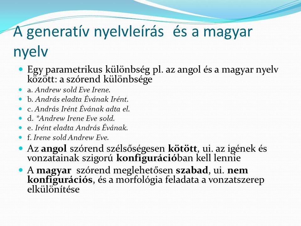 A generatív nyelvleírás és a magyar nyelv
