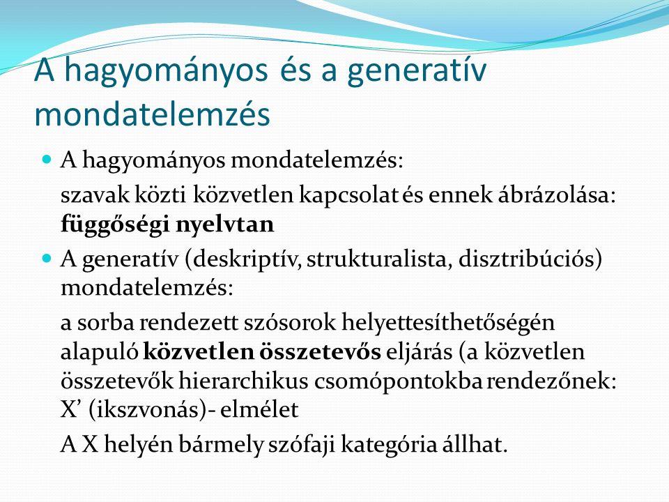 A hagyományos és a generatív mondatelemzés
