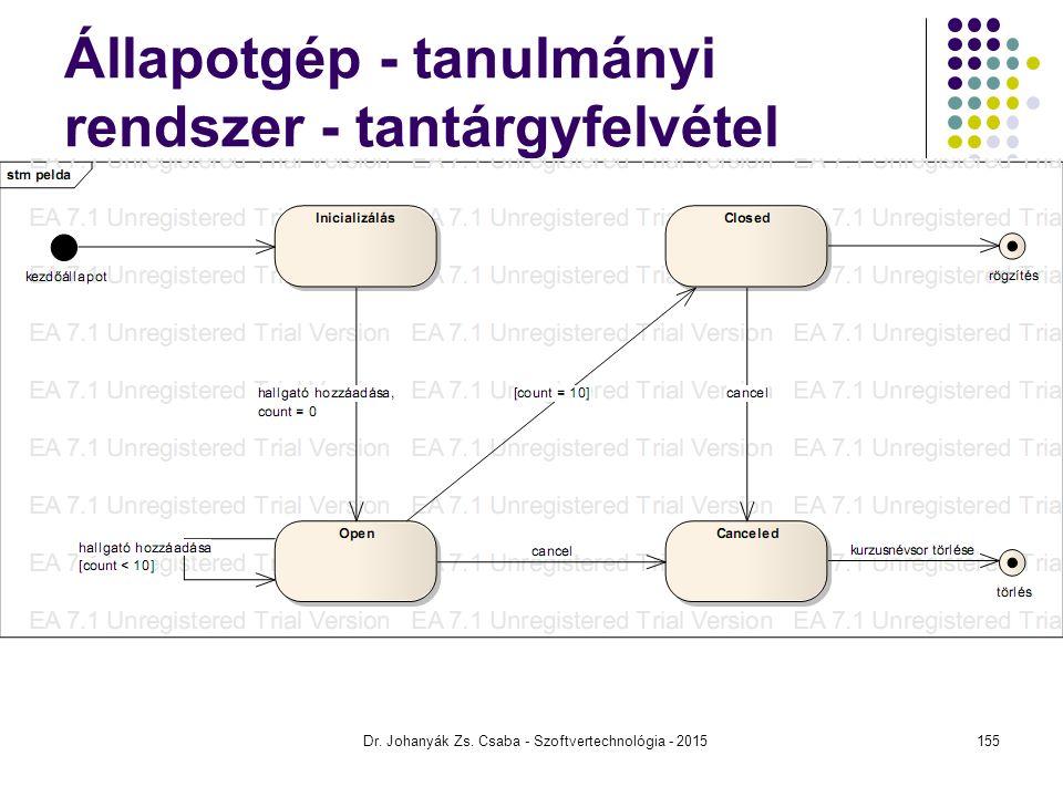 Állapotgép - tanulmányi rendszer - tantárgyfelvétel
