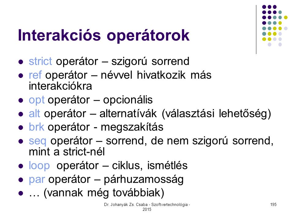 Interakciós operátorok