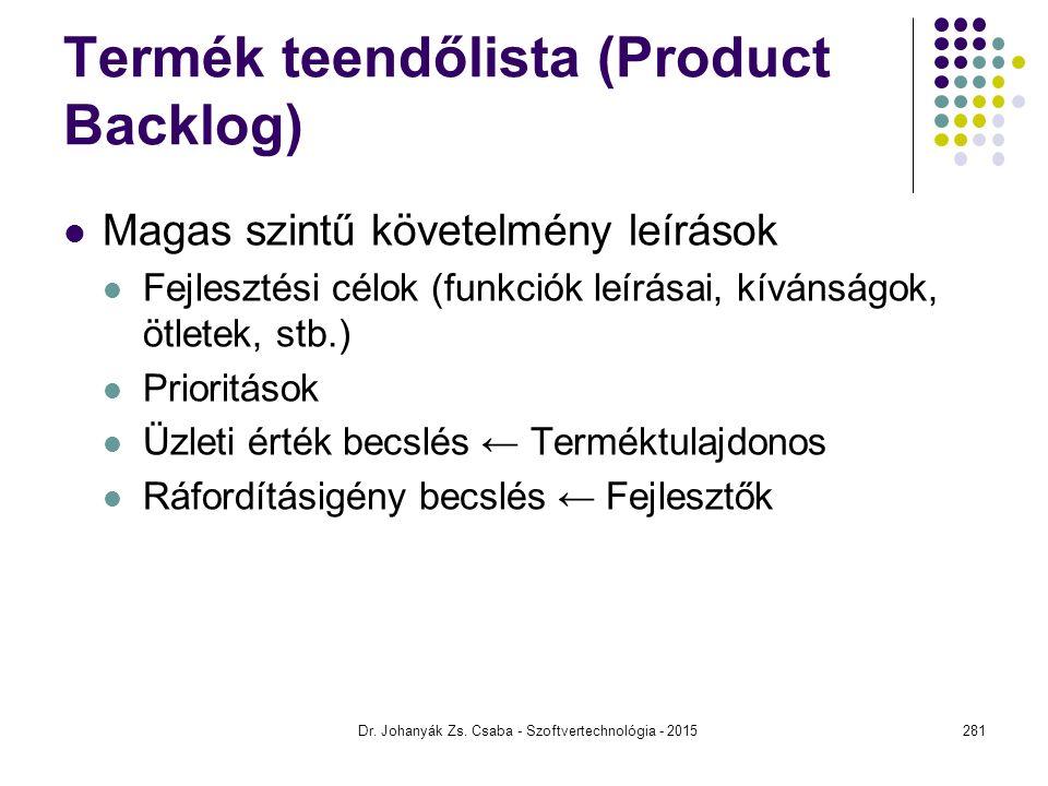 Termék teendőlista (Product Backlog)