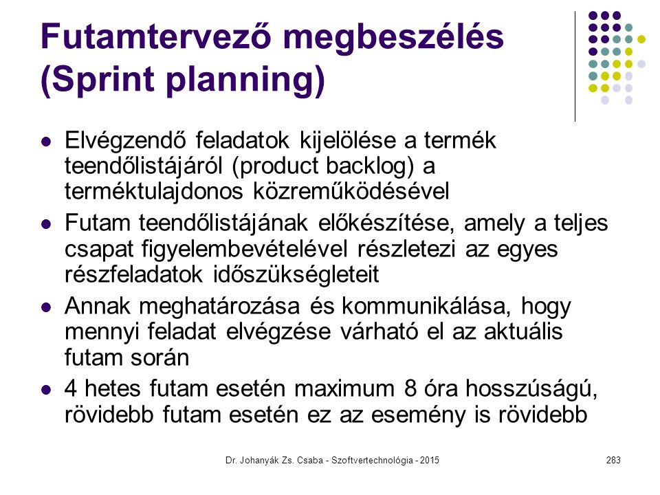 Futamtervező megbeszélés (Sprint planning)