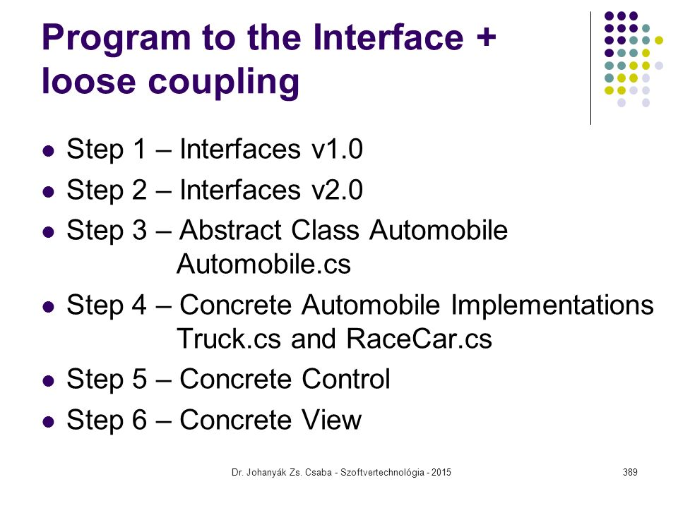 Program to the Interface + loose coupling