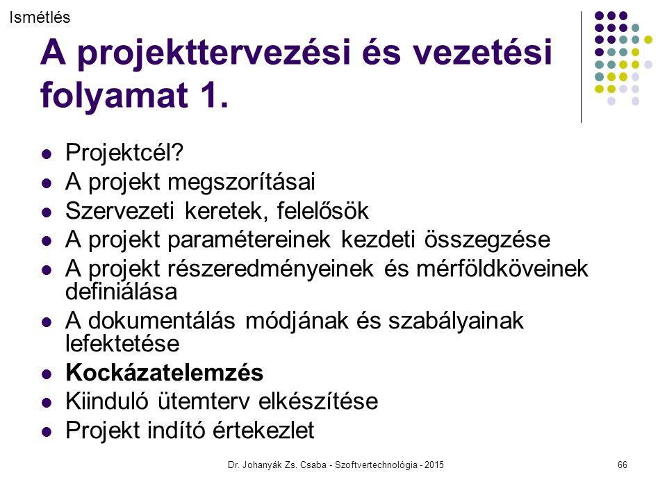 A projekttervezési és vezetési folyamat 1.