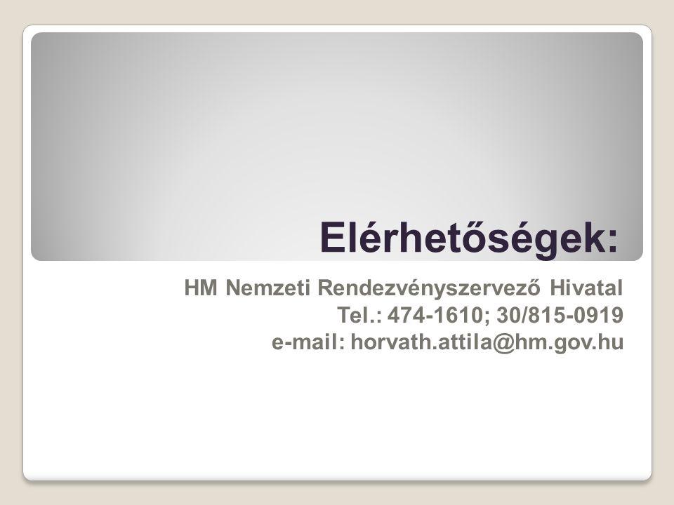 Elérhetőségek: HM Nemzeti Rendezvényszervező Hivatal