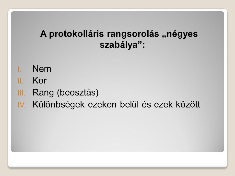 """A protokolláris rangsorolás """"négyes szabálya :"""