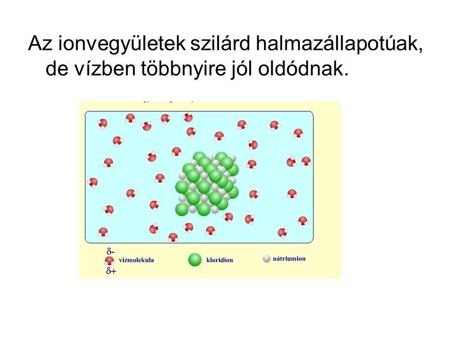 Az ionvegyületek szilárd halmazállapotúak, de vízben többnyire jól oldódnak.
