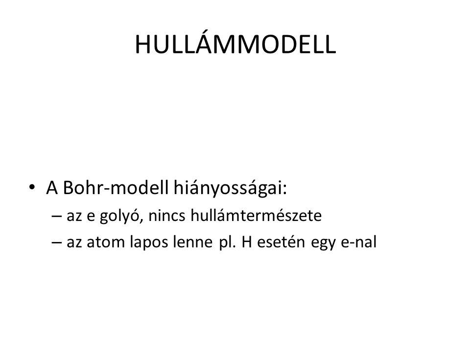 HULLÁMMODELL A Bohr-modell hiányosságai: