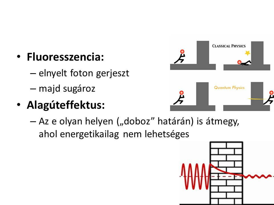 Fluoresszencia: Alagúteffektus: elnyelt foton gerjeszt majd sugároz