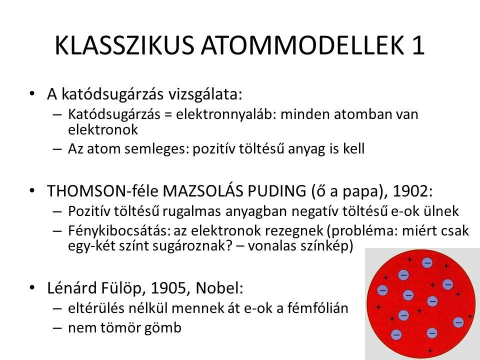 KLASSZIKUS ATOMMODELLEK 1