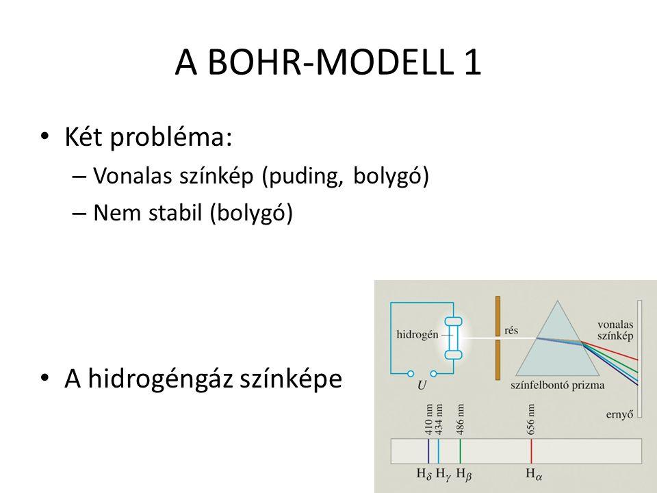 A BOHR-MODELL 1 Két probléma: A hidrogéngáz színképe
