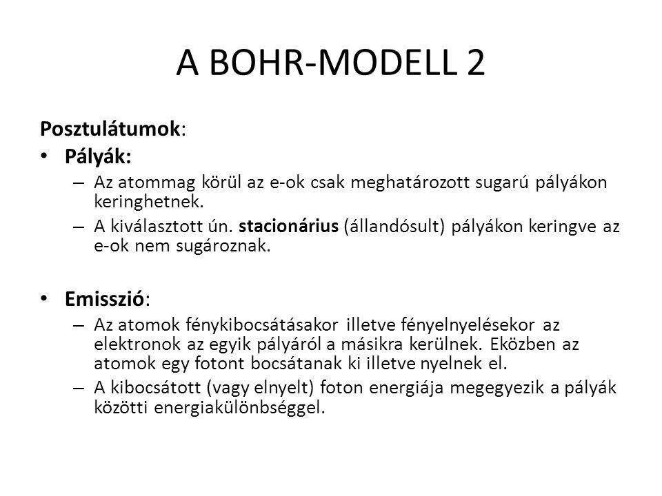 A BOHR-MODELL 2 Posztulátumok: Pályák: Emisszió: