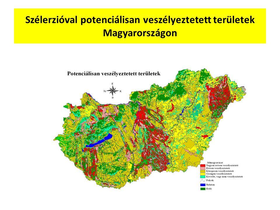 Szélerzióval potenciálisan veszélyeztetett területek Magyarországon