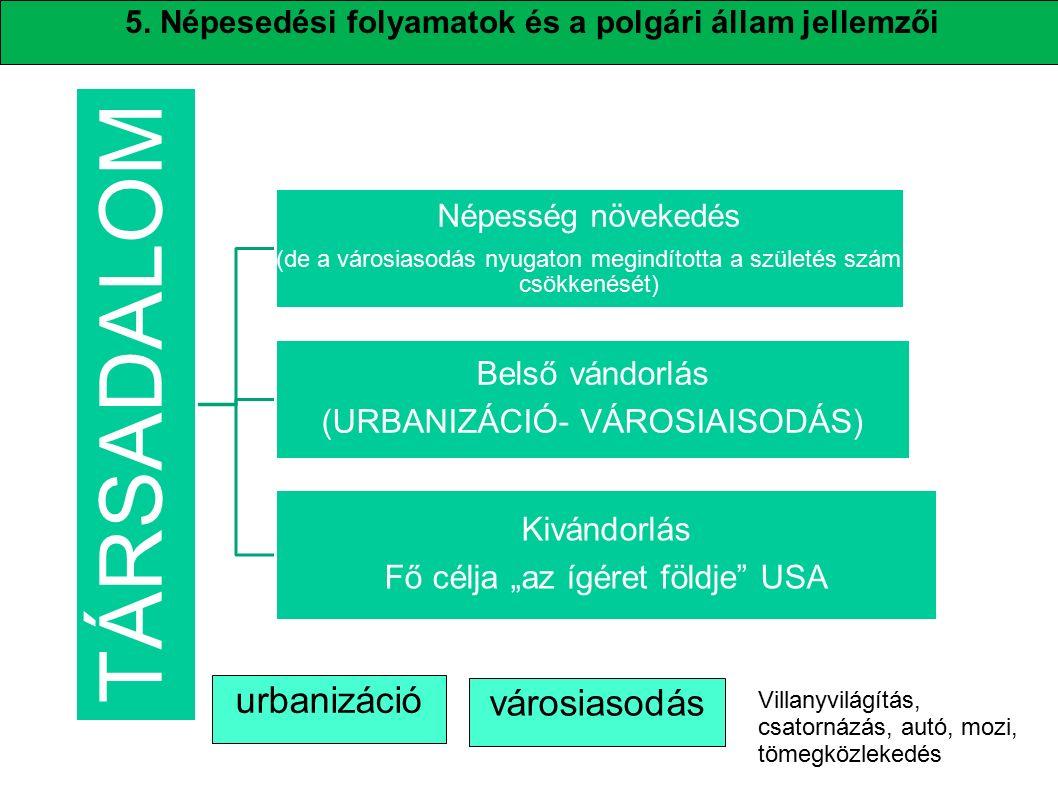 TÁRSADALOM urbanizáció városiasodás Belső vándorlás