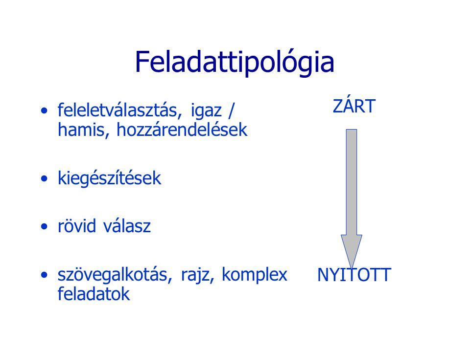 Feladattipológia ZÁRT feleletválasztás, igaz / hamis, hozzárendelések