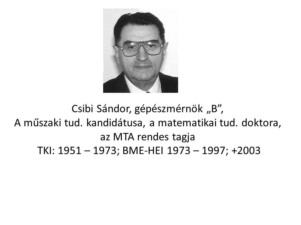 """Csibi Sándor, gépészmérnök """"B ,"""