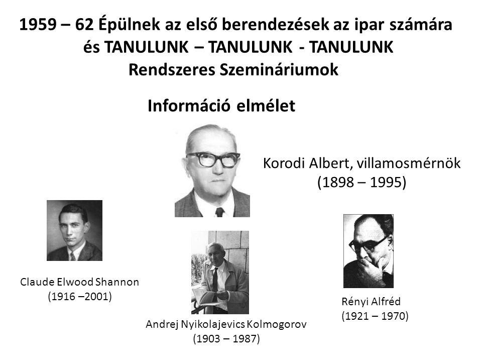1959 – 62 Épülnek az első berendezések az ipar számára
