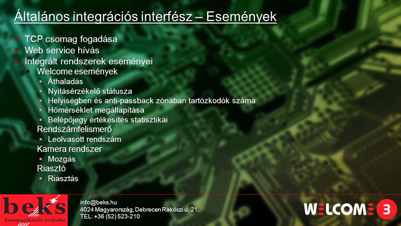 Általános integrációs interfész – Események