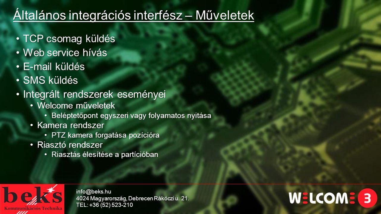 Általános integrációs interfész – Műveletek