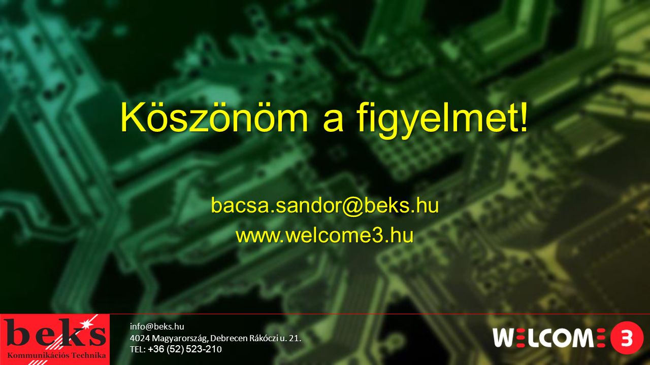 bacsa.sandor@beks.hu www.welcome3.hu