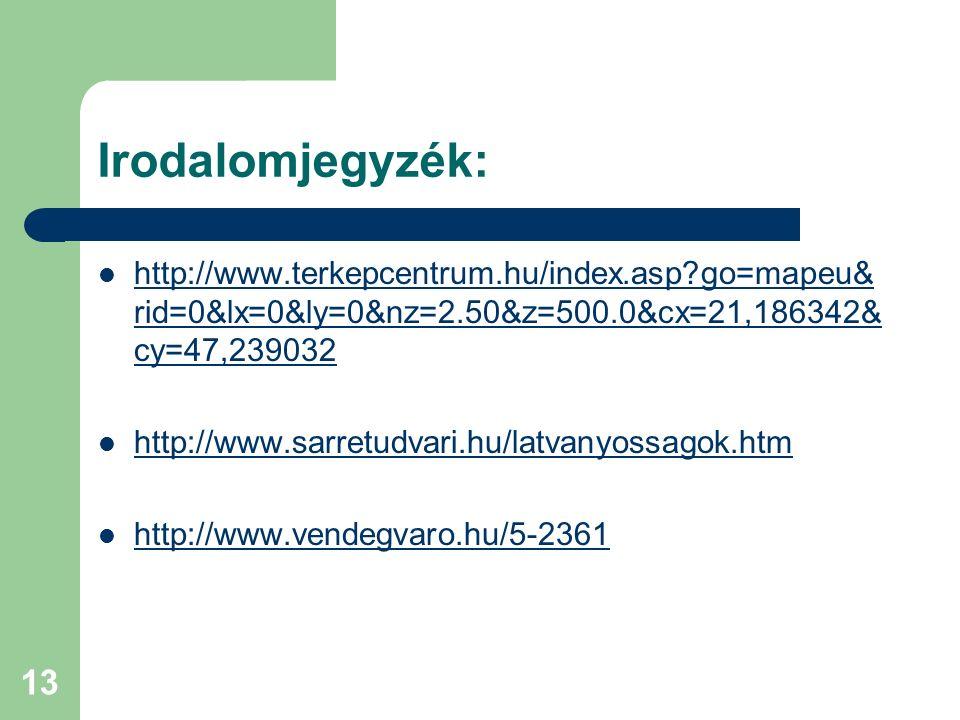 Irodalomjegyzék: http://www.terkepcentrum.hu/index.asp go=mapeu&rid=0&lx=0&ly=0&nz=2.50&z=500.0&cx=21,186342&cy=47,239032.