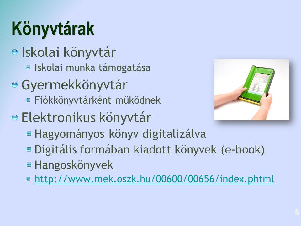 Könyvtárak Iskolai könyvtár Gyermekkönyvtár Elektronikus könyvtár