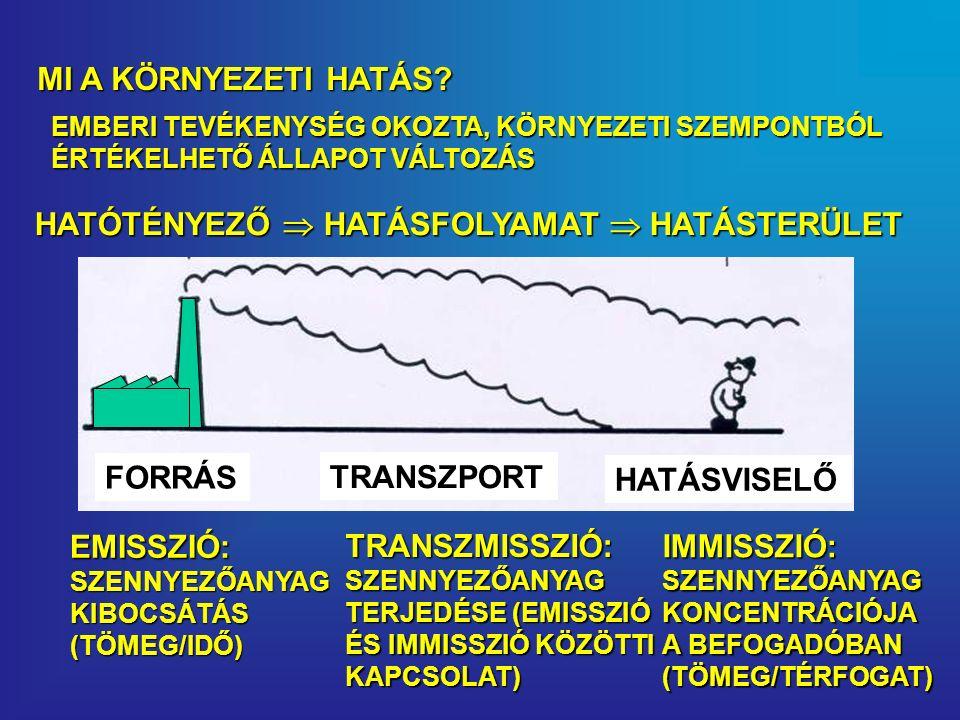 HATÓTÉNYEZŐ  HATÁSFOLYAMAT  HATÁSTERÜLET